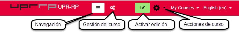 ubicación de botones en barra superior